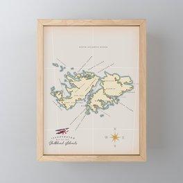 Illustrated map of the British Falkland Islands. Framed Mini Art Print