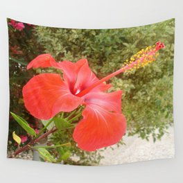 Beautiful Red Hibiscus Flower With Garden Background Wall Tapestry