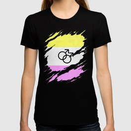 Gay Twink Pride Flag Ripped Reveal T-shirt