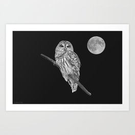 Owl, See the Moon (bw) Art Print