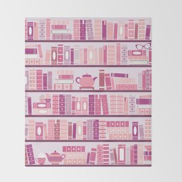 Bookcase Pattern Romance Pink Books Throw Blanket