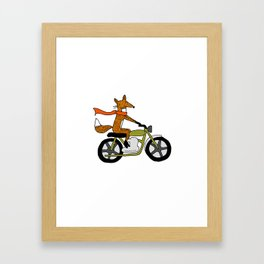 Fox on motorcycle Framed Art Print