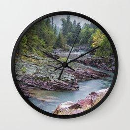 Rain on McDonald Creek in Glacier NP Wall Clock