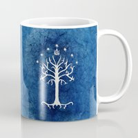 tolkien Mugs featuring The White Tree by Jackie Sullivan