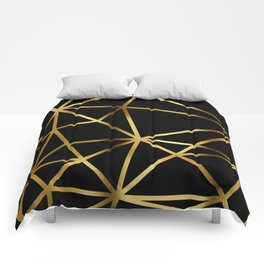 In Gold Triangles. Art Deco. Comforters