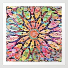 Cubistic Rainbow Flower Kaleidoscope Art Print
