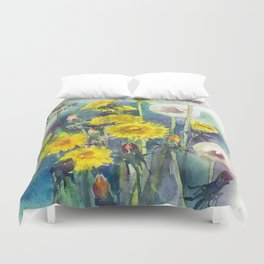 Watercolor dandelion flowers illustration Duvet Cover