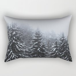 Fog over snow covered spruce forest in winter Rectangular Pillow