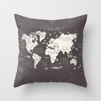 Throw Pillows featuring The World Map by Mike Koubou