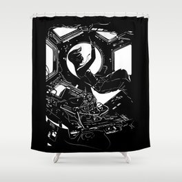 Space Station Girl Shower Curtain