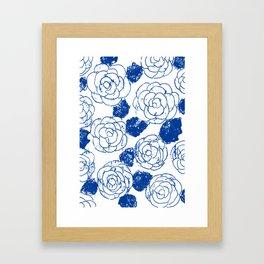 Blue blockprint roses Framed Art Print