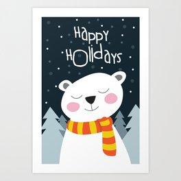 Cute Bear Happy Holidays Art Print