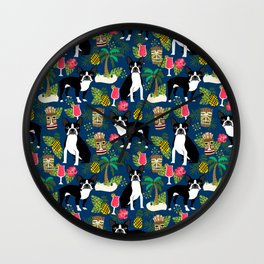 Boston Terrier tiki tropical palm trees cocktails vacation dog breed pet friendly pattern Wall Clock