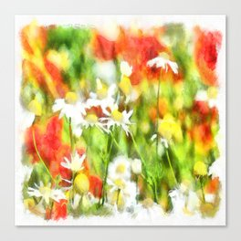 The Colors Of Spring On A Sunny Day Watercolor Canvas Print