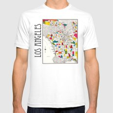Los Angeles Streets White SMALL Mens Fitted Tee