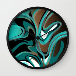 Liquify - Brown, Turquoise, Teal, Black, White Wall Clock