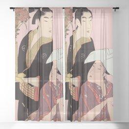 Utumaro Rice Balls & Flowers Sheer Curtain