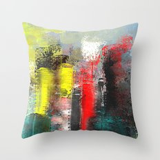 City in Red, Yellow and Aqua Abstract Throw Pillow