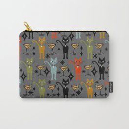 Party All Night Cats Retro on Dark Gray Carry-All Pouch
