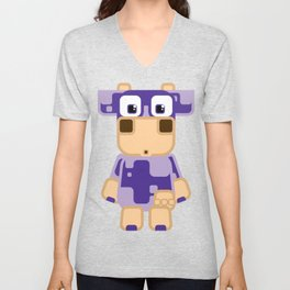 Super cute cartoon cow in purple - a moo-st have design for cow enthusiasts! Unisex V-Neck