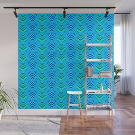 Pattern of intersecting azure hearts and sea water stripes. Wall Mural