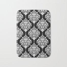 Black Monochrome Damask Pattern Bath Mat