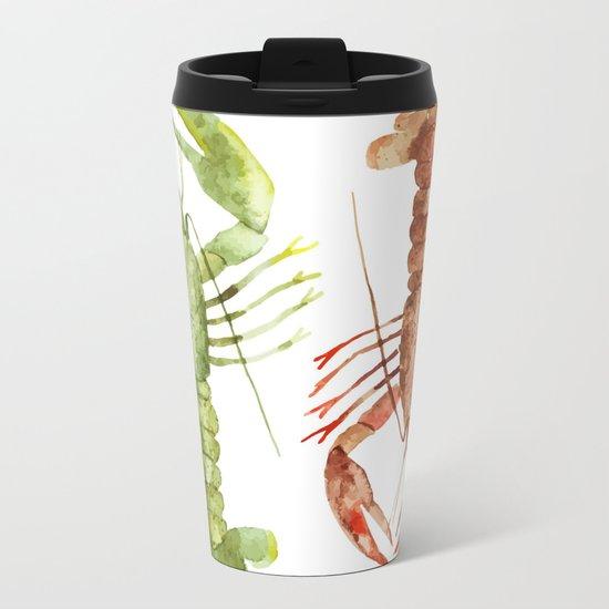 Colorful Lobsters Metal Travel Mug
