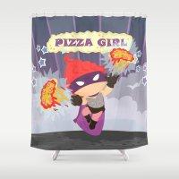 superheros Shower Curtains featuring Pizzagirl by Alapapaju