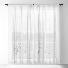 Minimal line drawing of woman's back and hand - Alice Sheer Curtain