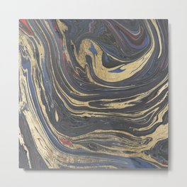 Abstract navy blue gray coral gold marble Metal Print