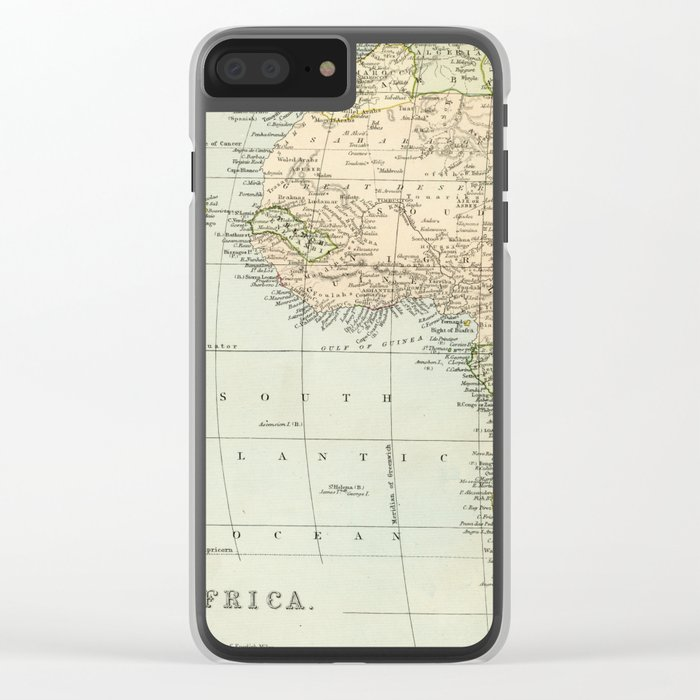 West & North Africa Vintage Map Clear iPhone Case by graphikz