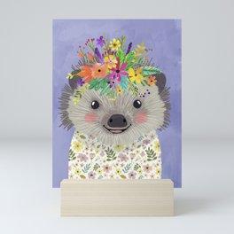 Hedgehog with floral crown Mini Art Print