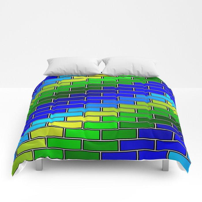 BRICK WALL #2 (Blues, Greens & Yellows) Comforters