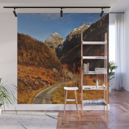 Fall in the mountains with a winding road Wall Mural