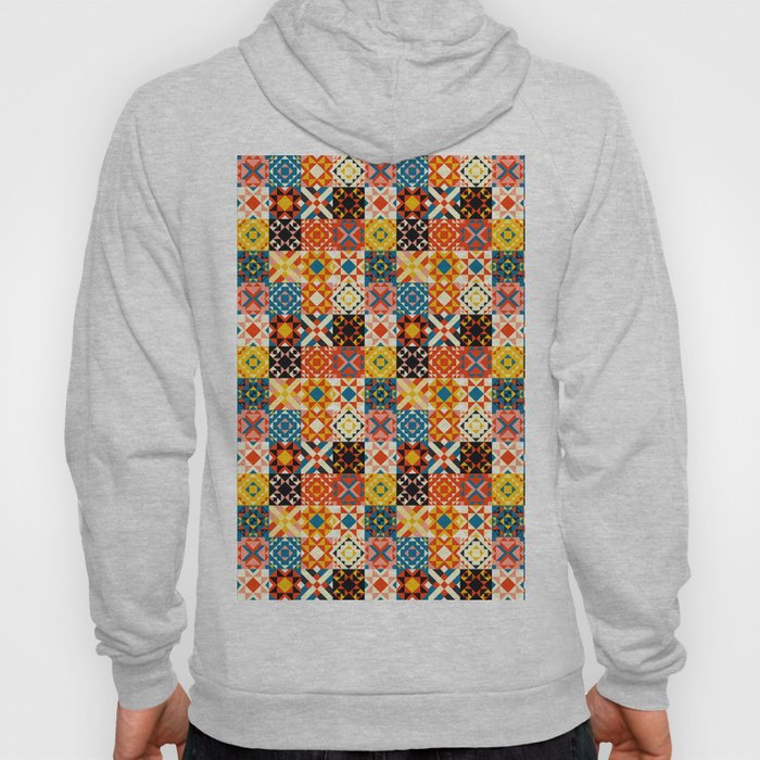 Maroccan tiles pattern with red an blue no2 Hoody