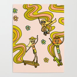 girl gang // dogtown and z girls // skateboard girl power by surfy birdy Poster