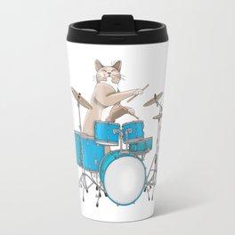 Cat Playing Drums - Blue Travel Mug