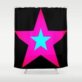 Star Pink Aqua Black Shower Curtain