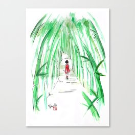 Geisha in Bamboo Forest Canvas Print