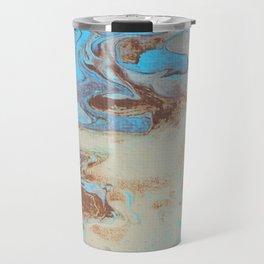 Fluid Art Acrylic Painting, Pour 27, Brown, Tan & Blue Blended Color Travel Mug