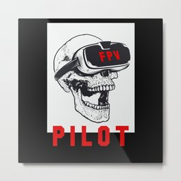 FPV Pilot Skull VR Glasses Dohne Pilot Metal Print