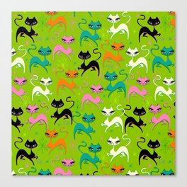 Prancing Kittens on Lime Canvas Print