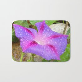 Mauve and Magenta Morning Glory with Water Drops Bath Mat