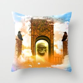 Skull and crows Throw Pillow