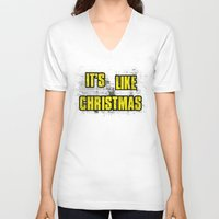 borderlands V-neck T-shirts featuring IT'S LIKE CHRISTMAS by Resistance