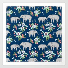 Elephants pattern navy blue with florals cute nursery baby animals lucky gifts Art Print