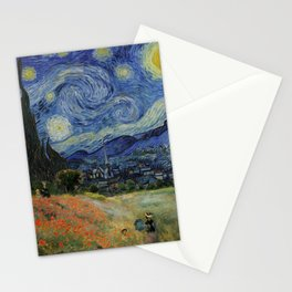 Poppy Fields + Starry Night   Collage 2.0 by Kristi Duggins Stationery Cards
