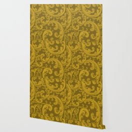 Retro Chic Swirl Lemon Curry Wallpaper