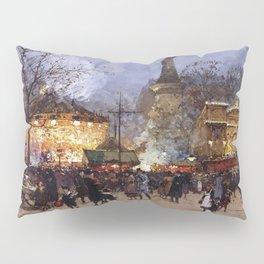 Place de la Republique, Paris, France by Eugene Galien Laloue Pillow Sham