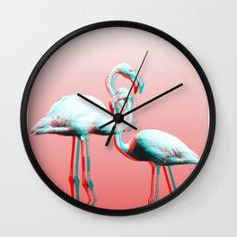 Glitch Flamingos Wall Clock